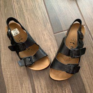 NWT Birkenstock Betula Black Leather Sandals L7/M5